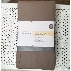 Threshold Ultra Soft Birch Brown Twin Flat Sheet